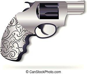 Gun silver swirly metal vector logo