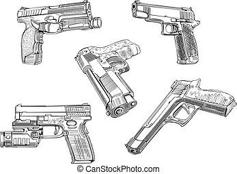 Gun sketches. Set of black and white vector illustrations.
