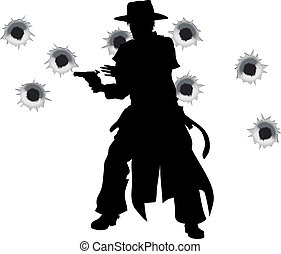 A wild west gunslinger drawing and firing his gun in a shootout with bullet holes in the background
