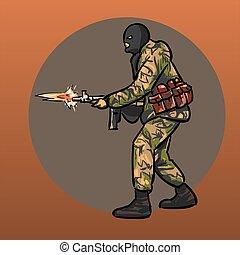 gun., soldato, warrior., speciale, forces.