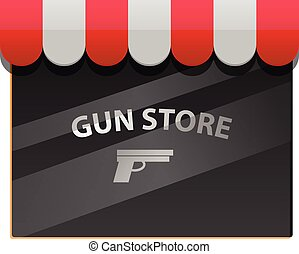 Gun store window vector icon