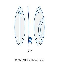 Gun Surfboard Desk Vector Illustration