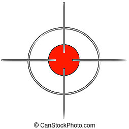 gun target or cross hairs with red mark - - gun target or...