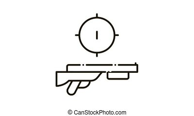 Gun Targeting Icon Animation. black Gun Targeting animated icon on white background