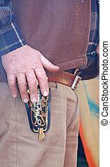 gun-toting, dernier, défi, main, sanguine,  cowboy's, avant