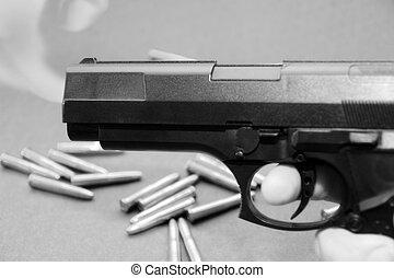 gun trade 5 - concept of gun hire going down against a dark...