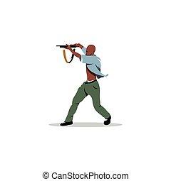 gun., vector, illustration., hombre, africano