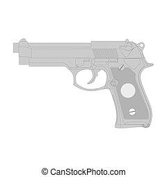 Gun vector illustration, isolation on a white background. - ...