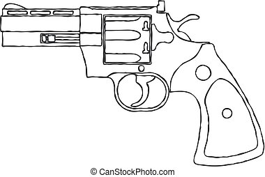gun., vendemmia, arma da fuoco, rivoltella, vettore, pistol.