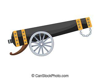 gun., viejo, cannon., antigüedad, vendimia, medieval, barcos, imagen, caricatura, estilo, fondo., pirata, blanco, color, cañón