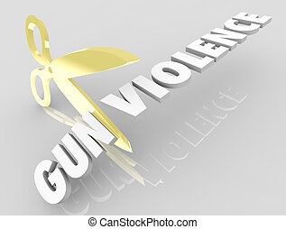 Gun Violence Scissors Cutting Words Reduce Killings 3d Illustration