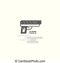 Gun Web Icon. Flat Line Filled Gray Icon Vector
