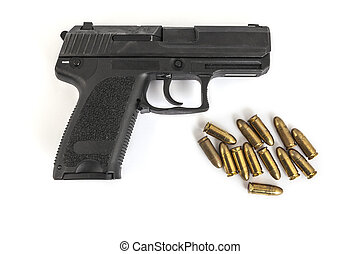gun with bullets with white background