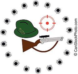 Gun with hat on white background