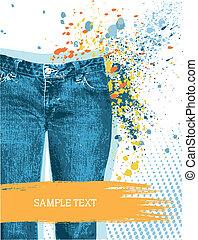 gunge, vektor, háttér., cajgvászon jeans