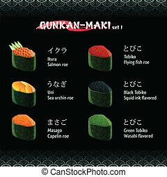 gunkan-maki, sushi