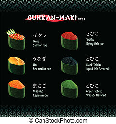 Gunkan-maki sushi I - Gunkan-maki (warship roll) sushi with...