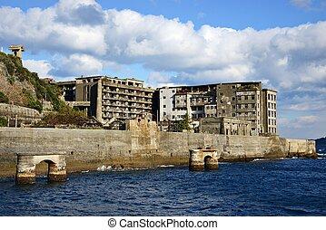 Gunkanjima - Abandoned island of Gunkanjima off the coast of...