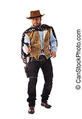 Gunman in the old wild west on white background.