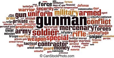 Gunman word cloud concept. Vector illustration