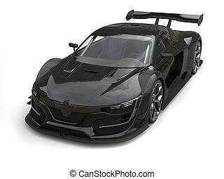 Gunmetal black super car - top down studio shot