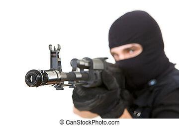 Gunpoint - Image of killer pointing his gun at camera with...