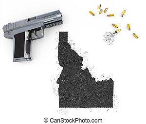 Gunpowder forming the shape of Idaho .(series) - Gunpowder...