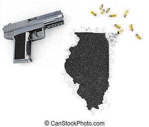 Gunpowder forming the shape of Illinois .(series) -...