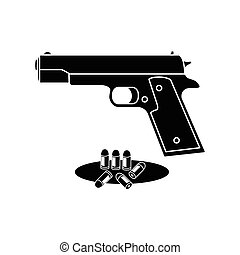Guns and ammunition icon. Icons weapons.