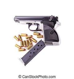 Guns and ammunition isolated on white background