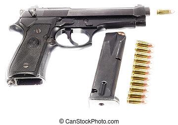 Guns and ammunition on white background