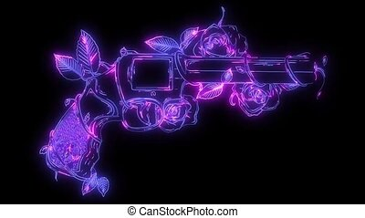 guns and rose flowers video animation - guns and rose...
