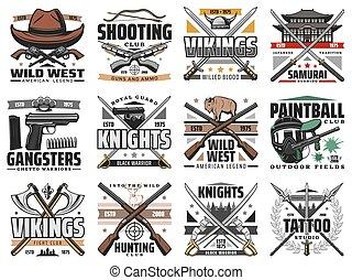 Guns and swords weapon retro vector icons set