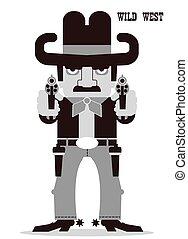 guns., apuntar, vaquero, aislado, norteamericano, occidental, blanco, ?owboy, hombre
