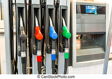 Guns at the gas station closeup, nobody