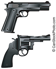 Guns. - Black pistol and revolver.