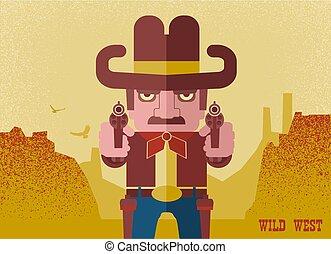 guns., célzás, cowboy, amerikai, western, ?owboy, kalap, cserbenhagy parkosít, ember