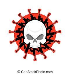 guns., głowa, szkielet, rifles., armia, logo., emblem., czaszka, wojskowy, odznaka, wojna
