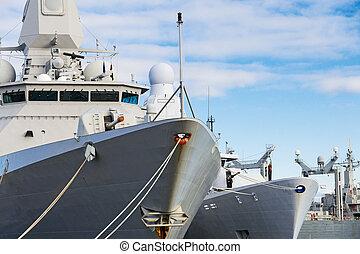 guns., gros plan, bateaux, naval, vue