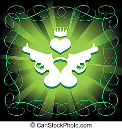 guns, heart and crown in shining green background