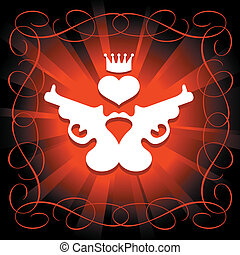 guns, heart and crown in shining red background
