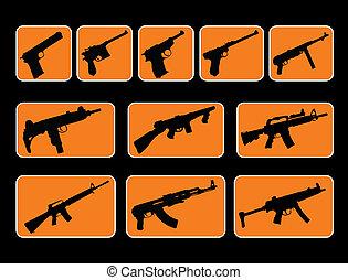 GUNS - illustration of different style guns and machine guns