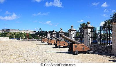 Guns of the castillo de la Real Fuerza. Historic center of...