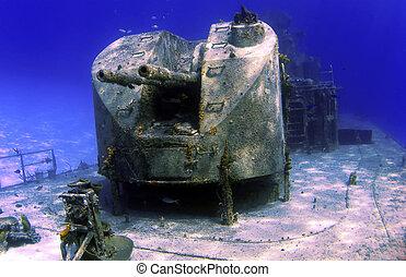 Guns on the deck of a Sunken Ship - Guns on a sunken...