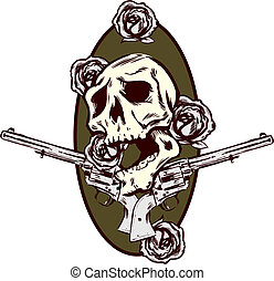 Guns roses and pistols tattoo style illustration