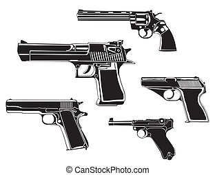 Several guns, old and modern, in the vector