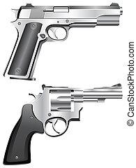 Silver pistol and revolver.