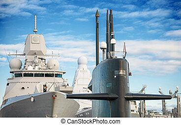 guns., sous-marin, navires guerre, fleet., naval