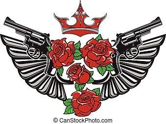 Guns, steel wings, red roses and crown.