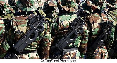 guns., tjäna som soldat, likformig, militär